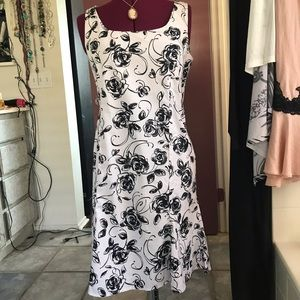 Feminine Black and White Floral Dress, Petite